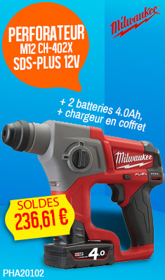 Perforateur MILWAUKEE M12 CH-402X SDS-Plus 12V + 2 batteries 4.0Ah, chargeur en coffret Dynacase - 4933446049