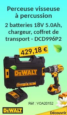 Perceuse visseuse à percussion DEWALT - Avec 2 batteries 18V 5.0Ah, chargeur, coffret de transport - DCD996P2