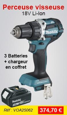 Perceuse visseuse MAKITA 18V Li-Ion Ø13 mm - 2 Batteries 18V 3.0Ah + 1 batterie 4.0 Ah - chargeur + coffret - DDF484RF3J